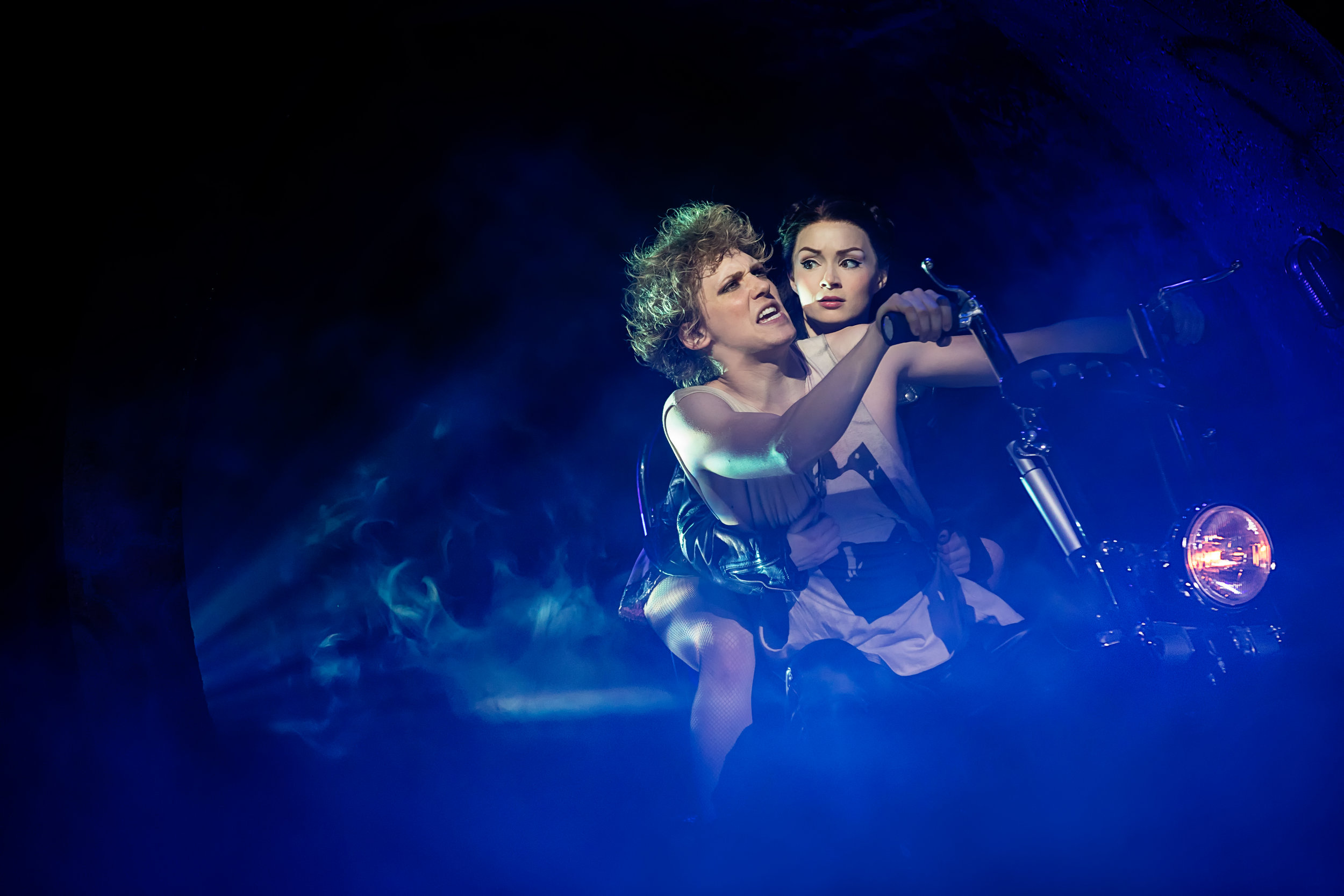 Andrew Polec (Strat) and Christina Bennington (Raven) as star-crossed lovers. Photo Credit: Little Fang Photo.