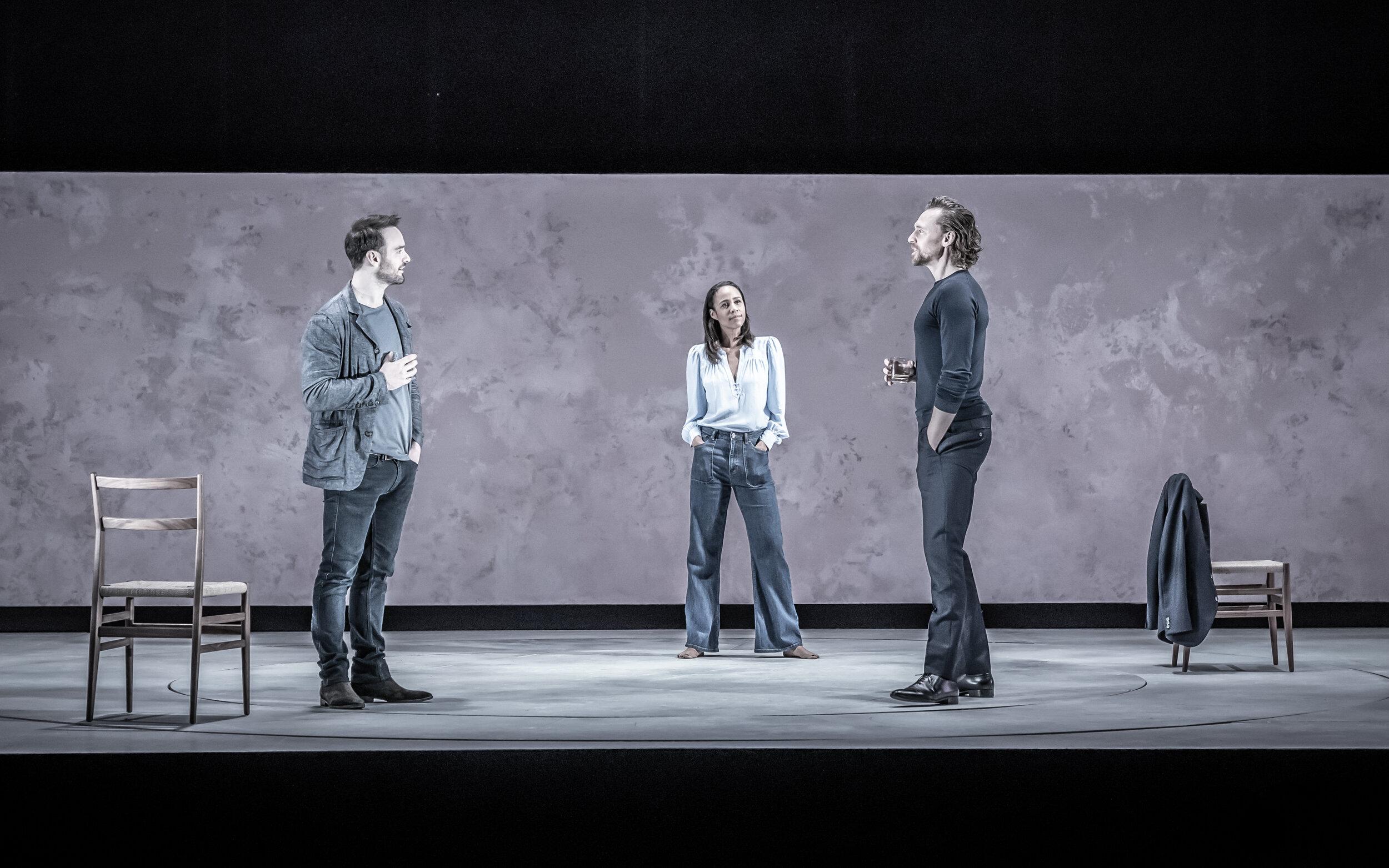"Charlie Cox, Zawe Ashton, and Tom Hiddleston in ""Betrayal"". Photo Credit: Marc Brenner."