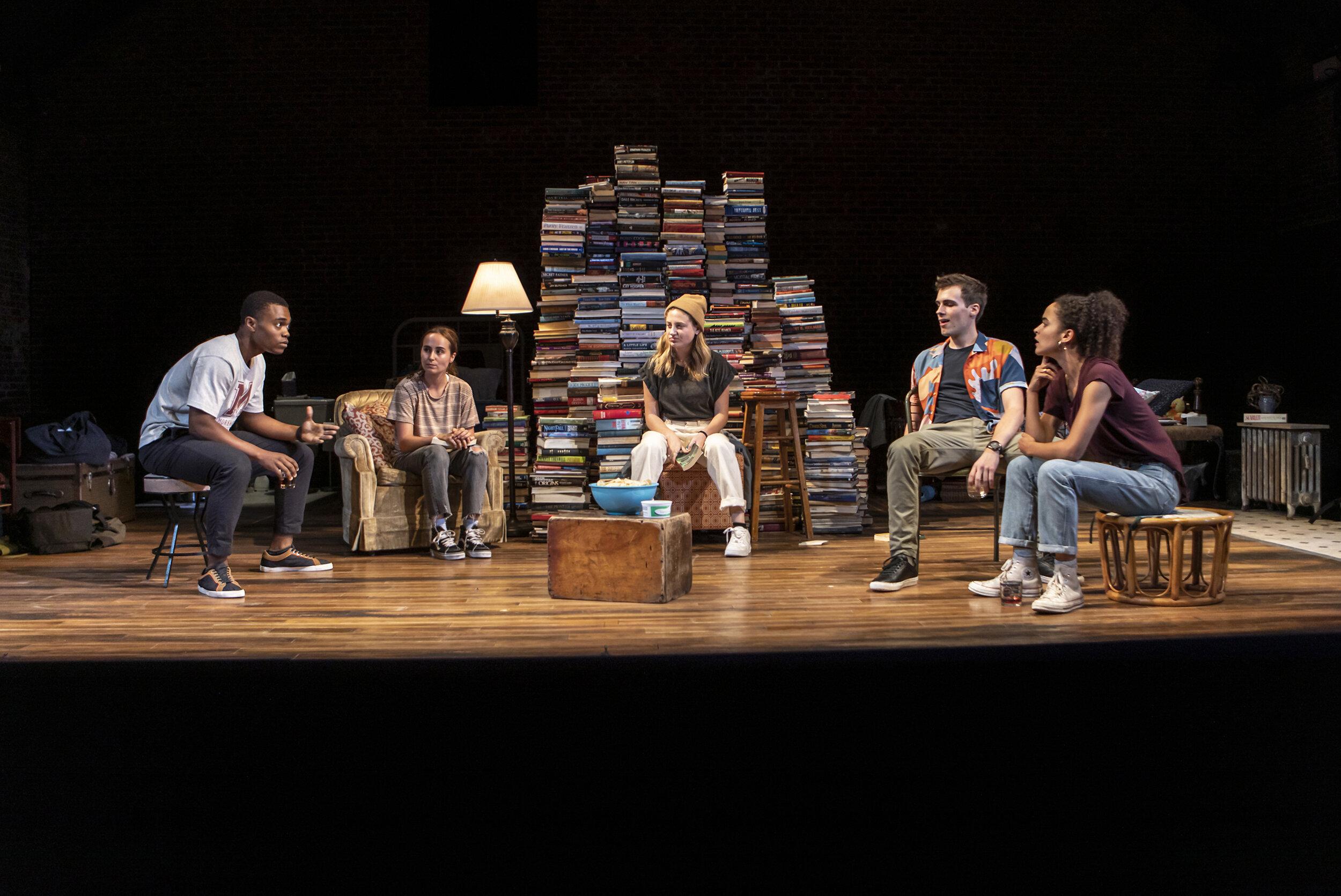 "Christian Strange, Sadie Scott, Ruby Frankel, Zane Pais, and Juliana Canfield in ""Sunday"". Photo Credit: Monique Carboni."
