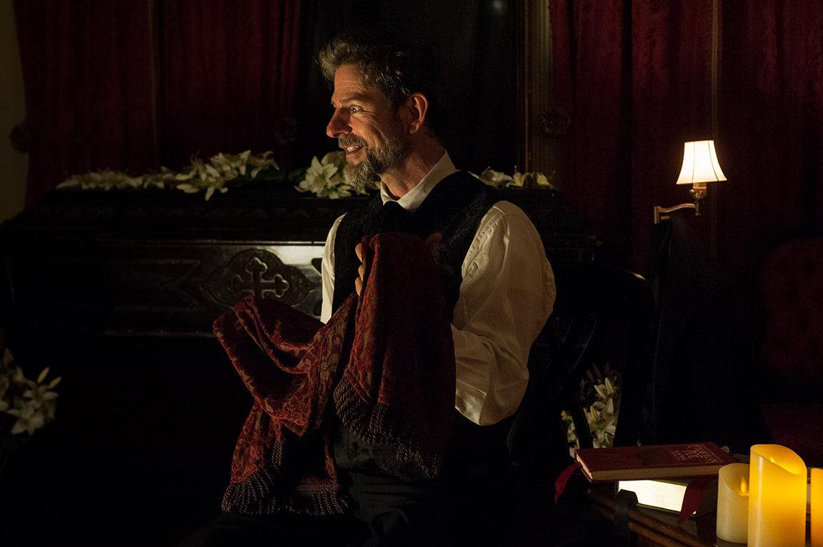 "John Kevin Jones in ""Killing An Evening with Edgar Allan Poe"". Photo Credit: Joey Stocks"