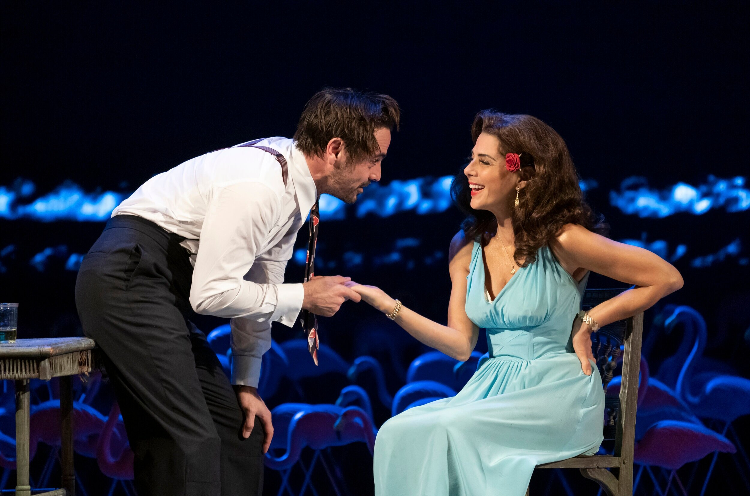 "Emun Elliott and Marisa Tomei as tempestuous lovers in ""The Rose Tattoo"". Photo by Joan Marcus."
