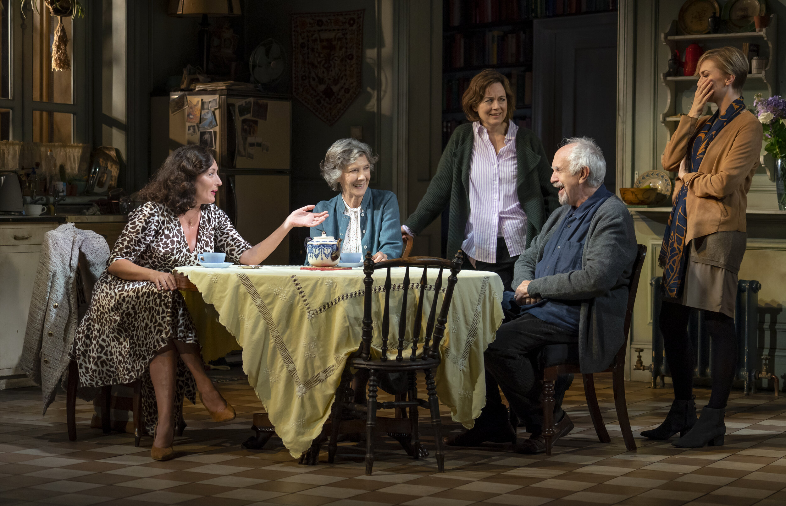 "Lucy Cohu, Eileen Atkins, Amanda Drew, Jonathan Pryce, and Lisa O'Hare in ""The Height of the Storm"". Photo by Joan Marcus."