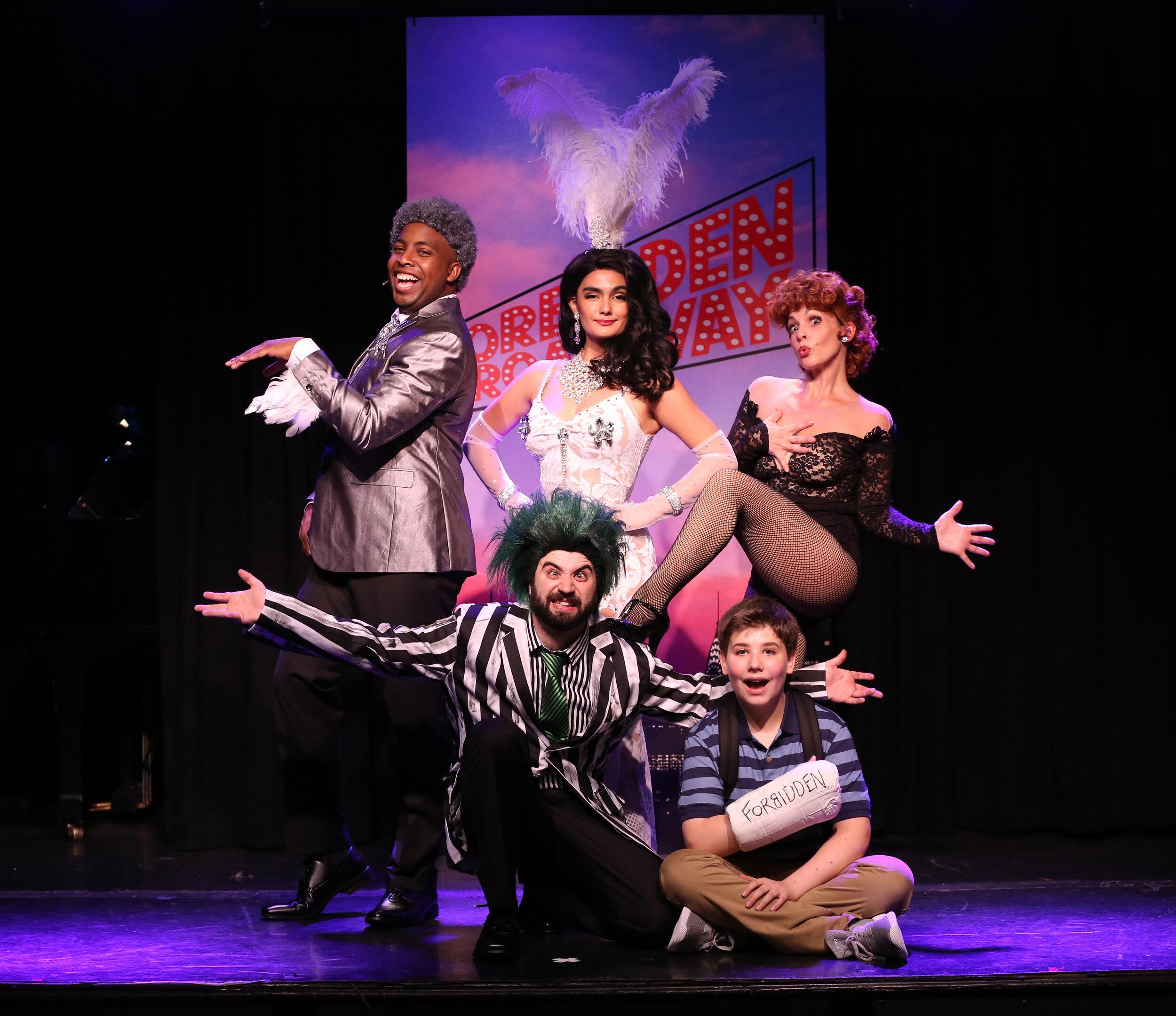 "Top row: Immanuel Houston, Aline Mayagoitia, Jenny Lee Stern; bottom row: Chris Collins-Pisano and Joshua Turchin, in ""Forbidden Broadway: The Next Generation"". Photo by Carol Rosegg"