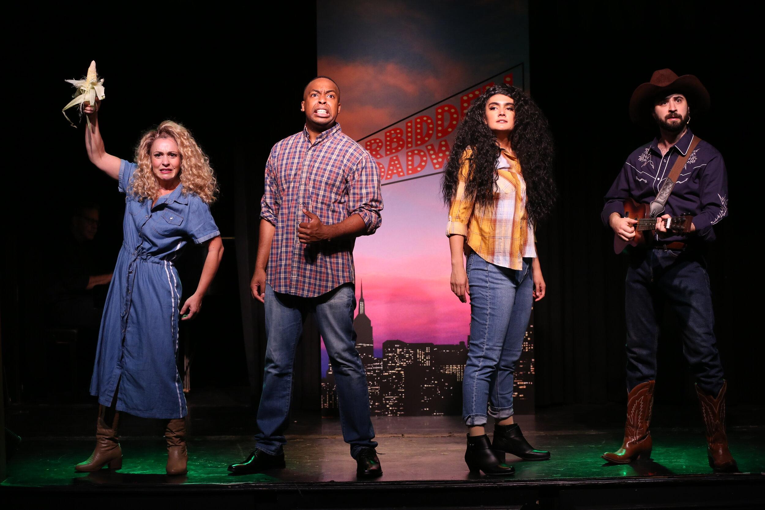 "Jenny Lee Stern, Immanuel Houston, Aline Mayagoitia, and Chris Collins-Pisano do ""Woke-lahoma!"". Photo by Carol Rosegg"
