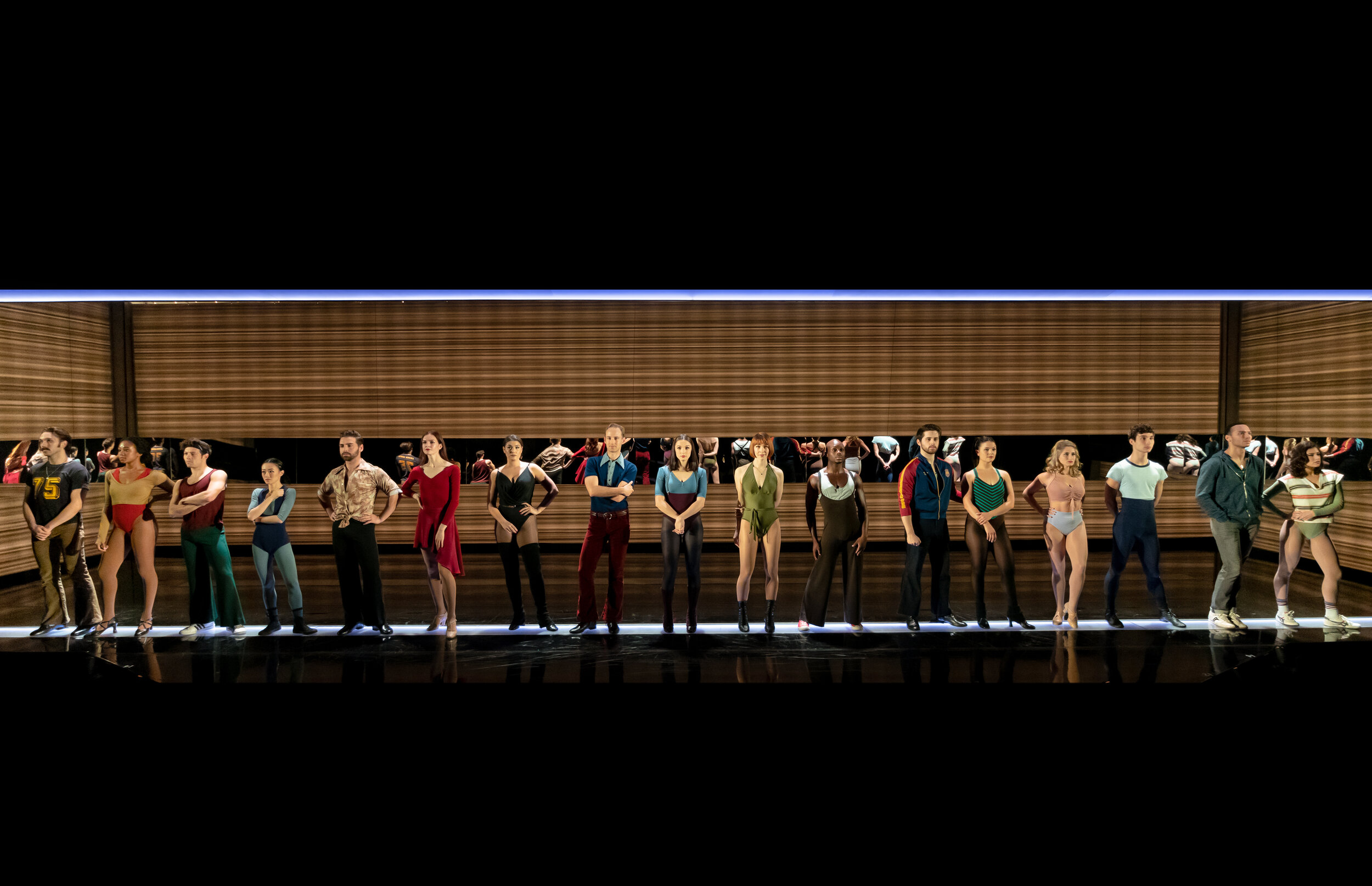 """The cast of """"A Chorus Line"""" at Signature Theatre. Photo by Christopher Mueller."""