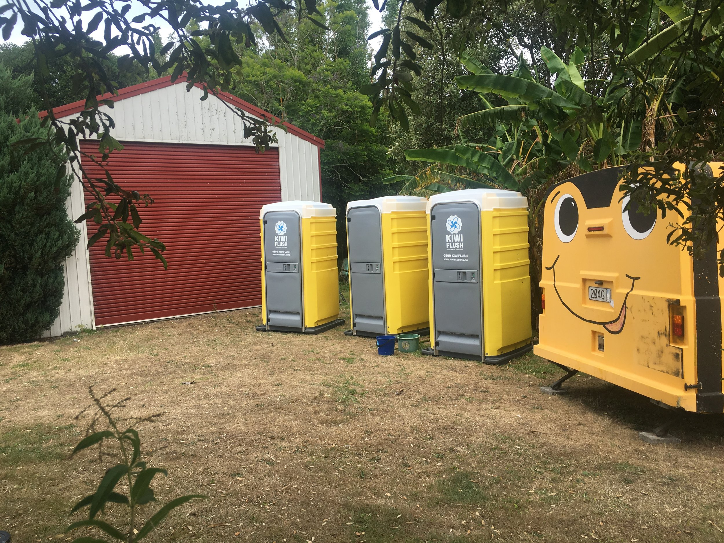 Happy 'Glampers' with Kiwi Flush loos and shower onsite!