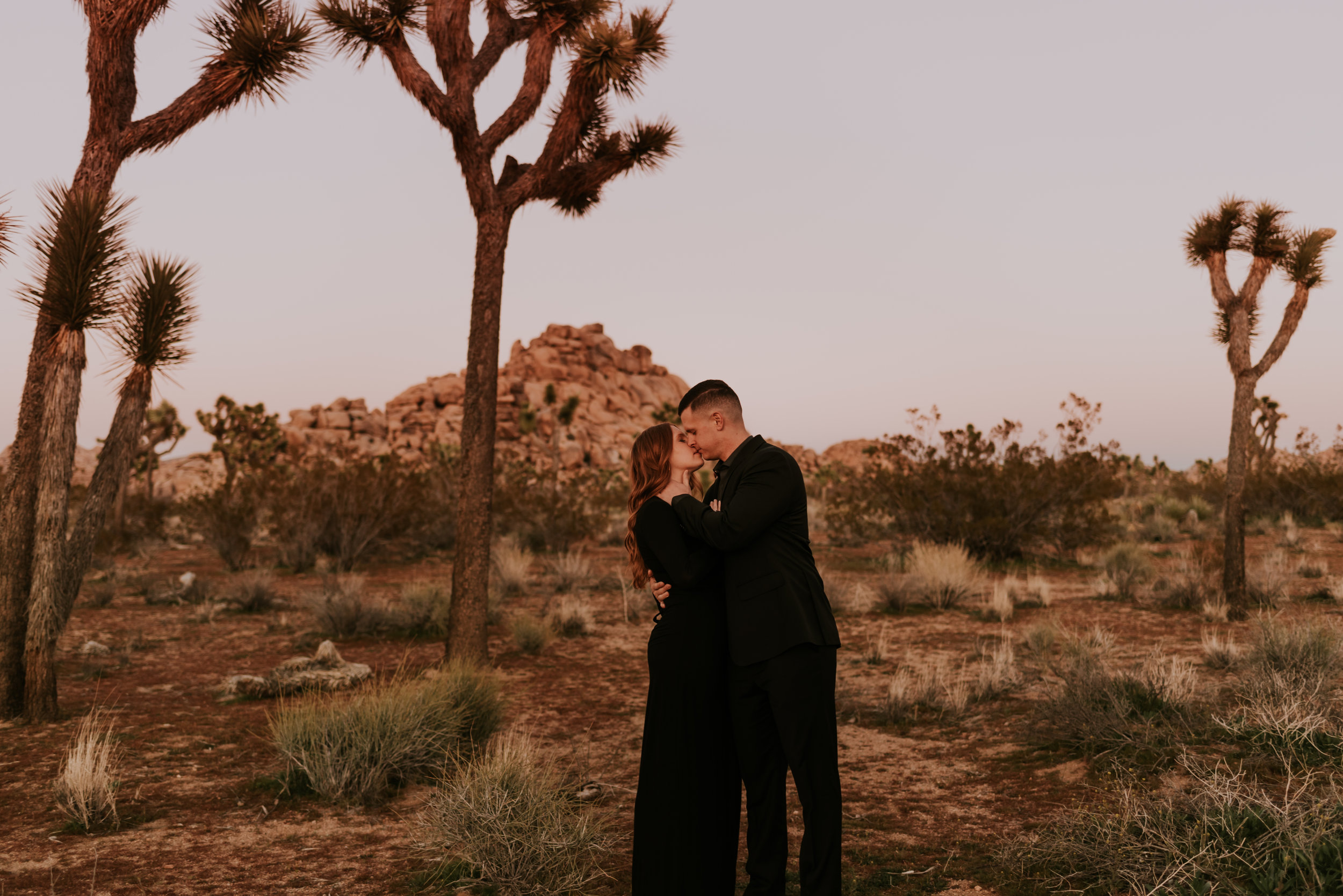 Joshua Tree Engagement Session with all black outfits // Carrie Rogers Photography