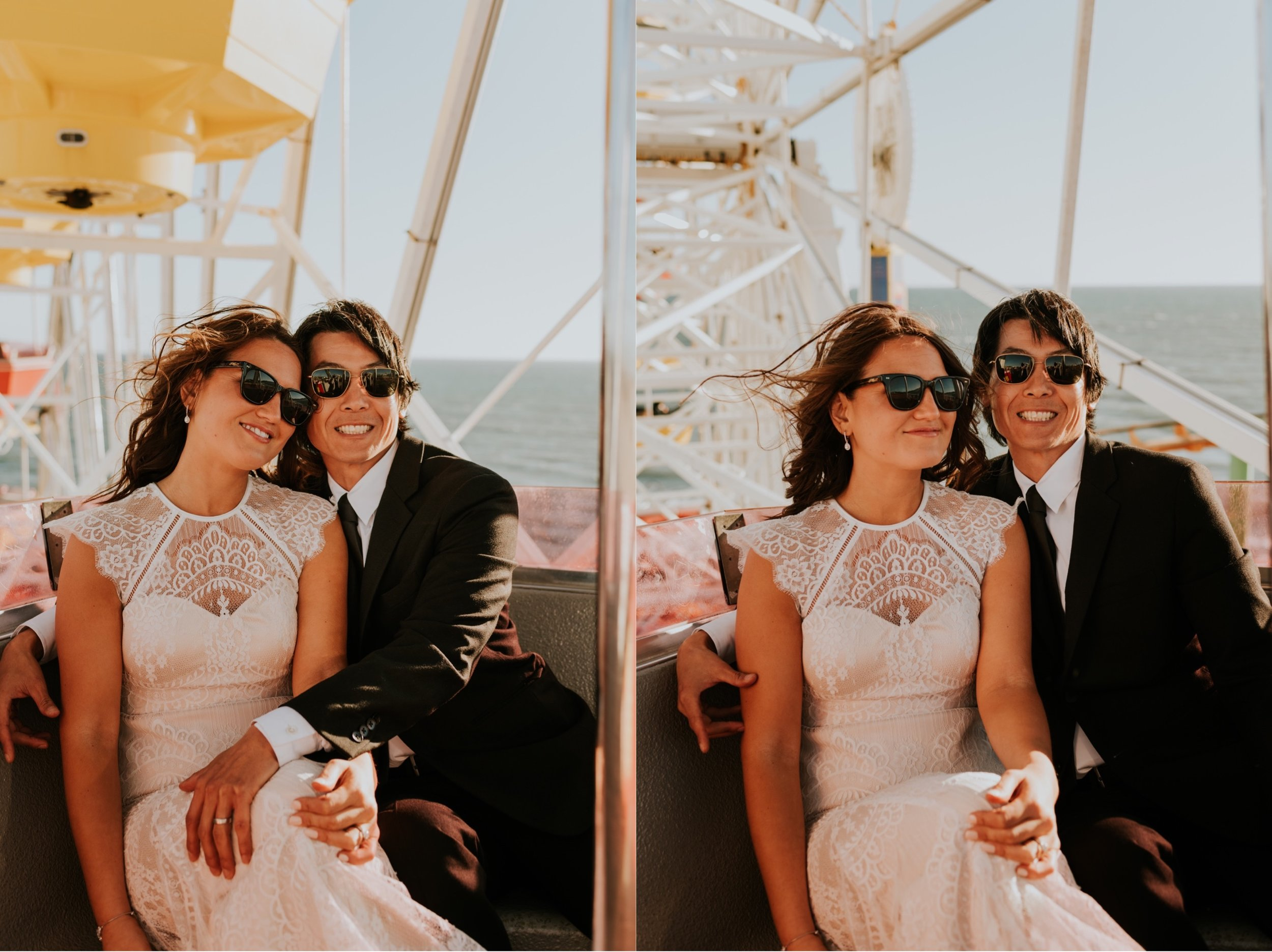 Santa Monica Pier Wedding Photos | Carrie Rogers Photography | Bride and Groom on Ferris Wheel |  Santa Monica Beach Wedding | Beverly Hills Elopement | Beverly Hills Wedding