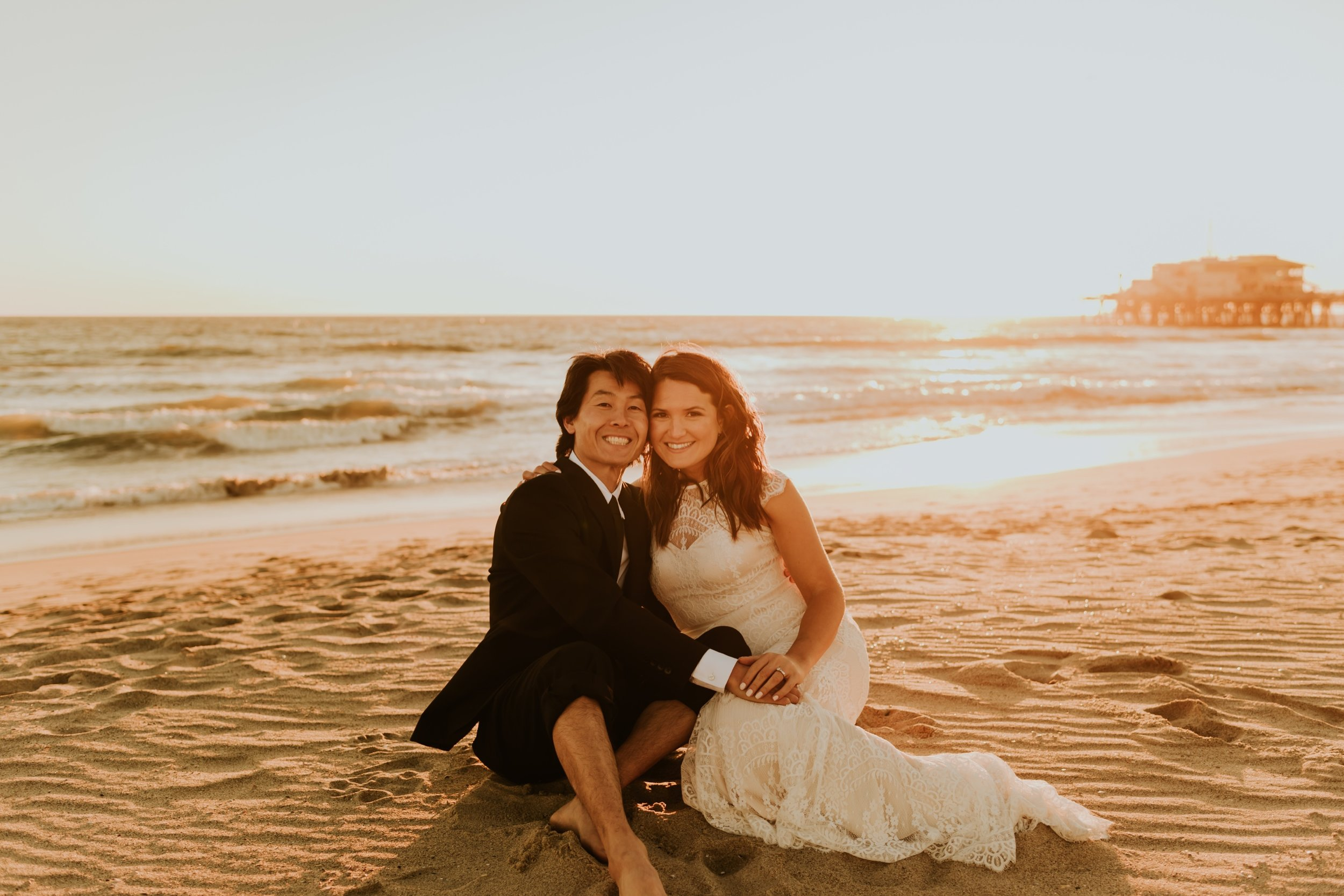 Santa Monica Pier Wedding Photos | Carrie Rogers Photography |  Santa Monica Beach Wedding | Beverly Hills Elopement | Beverly Hills Wedding  | Sunset Beach Photos