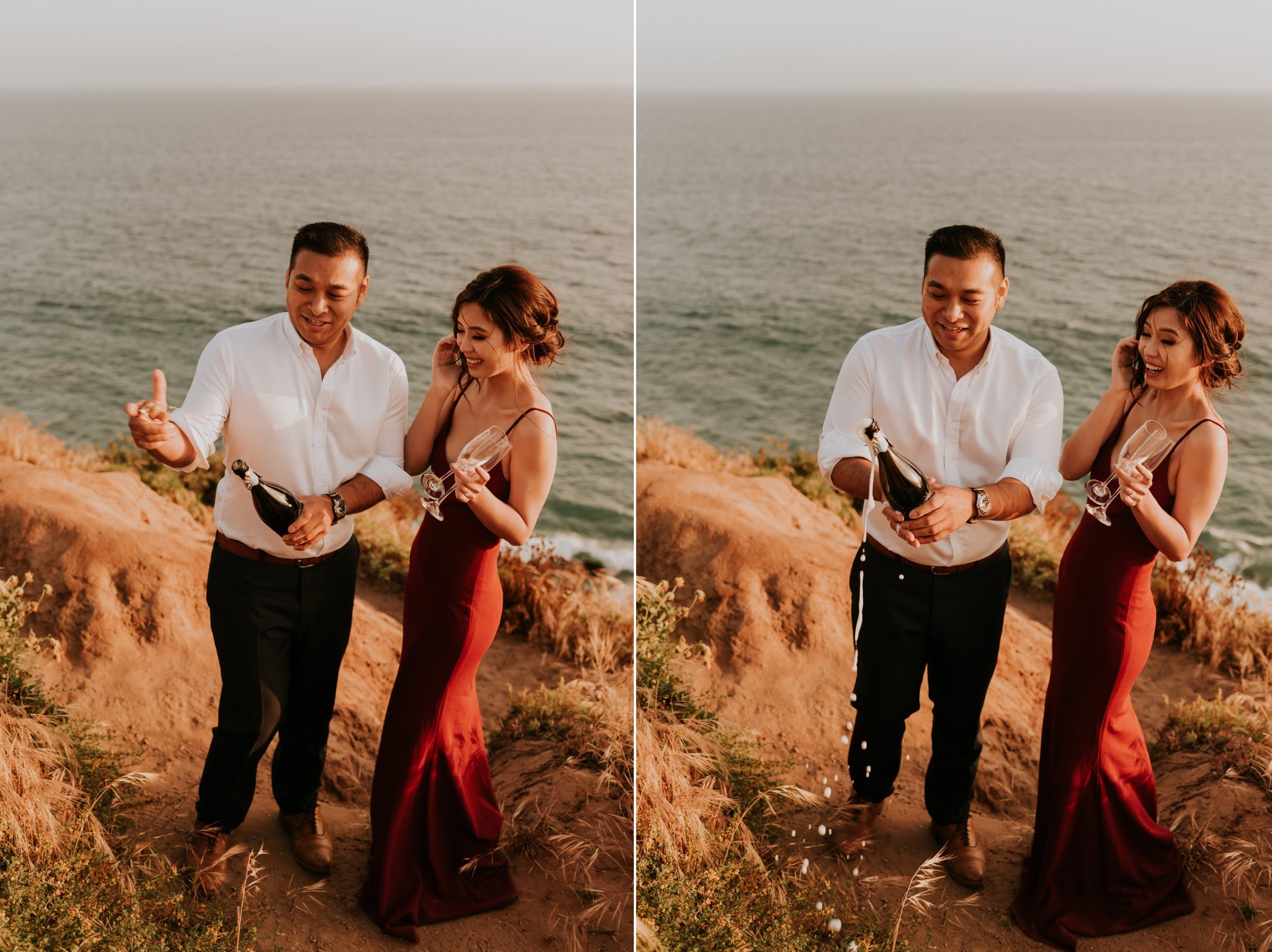 Point Dume, Malibu Engagement Session | Carrie Rogers Photography | Champagne Pop |  Malibu Wedding Photographer | Malibu Cliffside Elopement | #elopement #couples