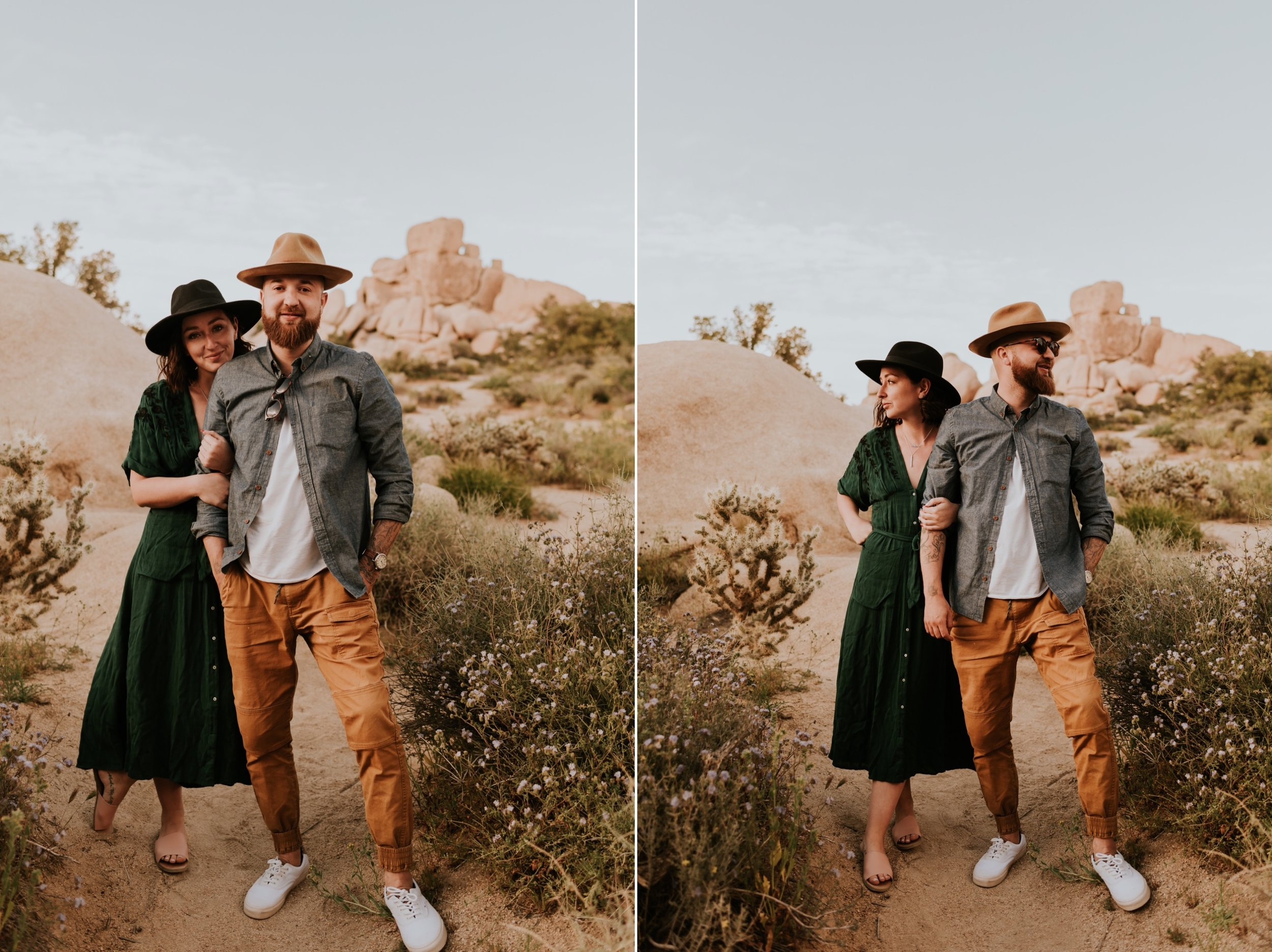 Couples Photoshoot in Joshua Tree National Park | Carrie Rogers Photography | Joshua Tree Engagement Session | Trendy Outfit Ideas for Engagement Photos | Joshua Tree Wedding Photographer
