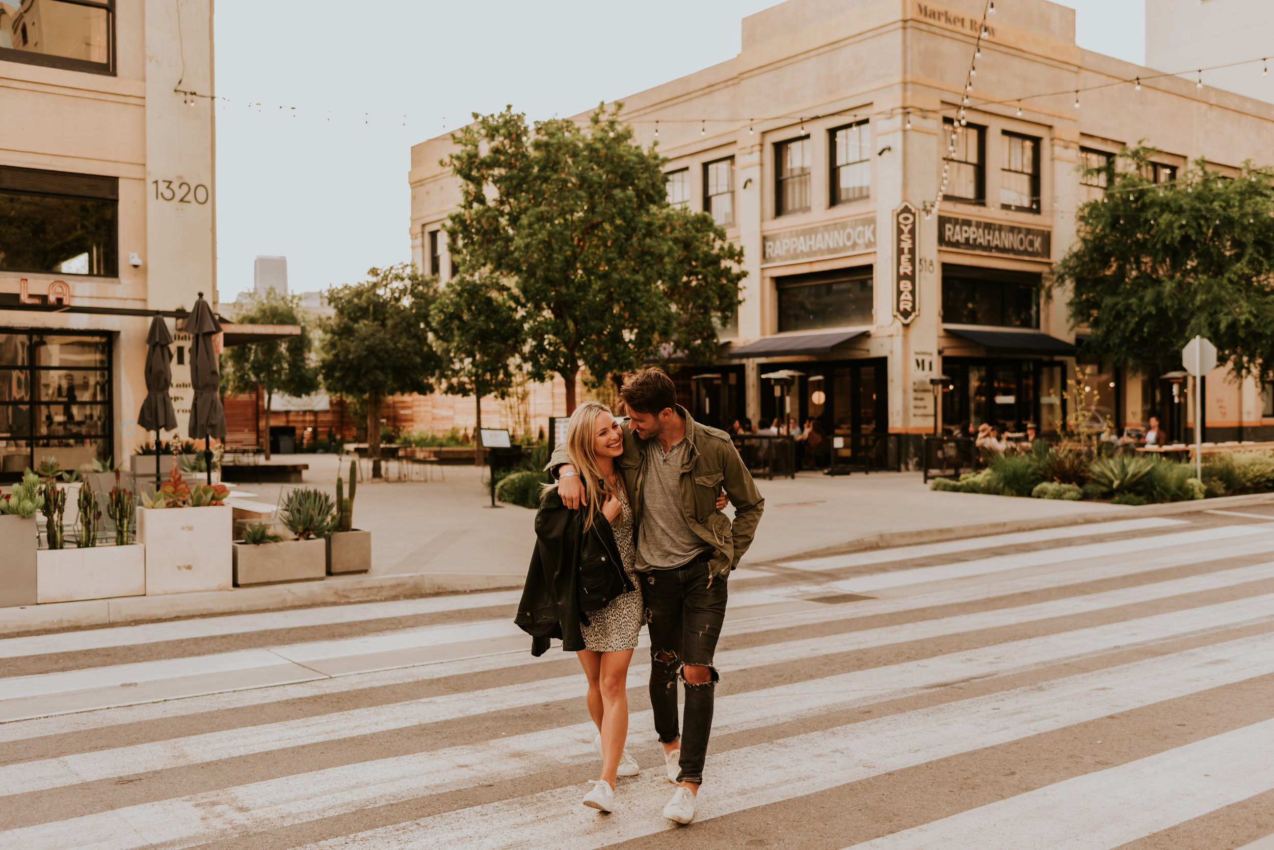 Downtown Los Angeles Rooftop Engagement Session | Carrie Rogers Photography | LA skyline view from rooftop | Urban engagement session | #couples #engagement