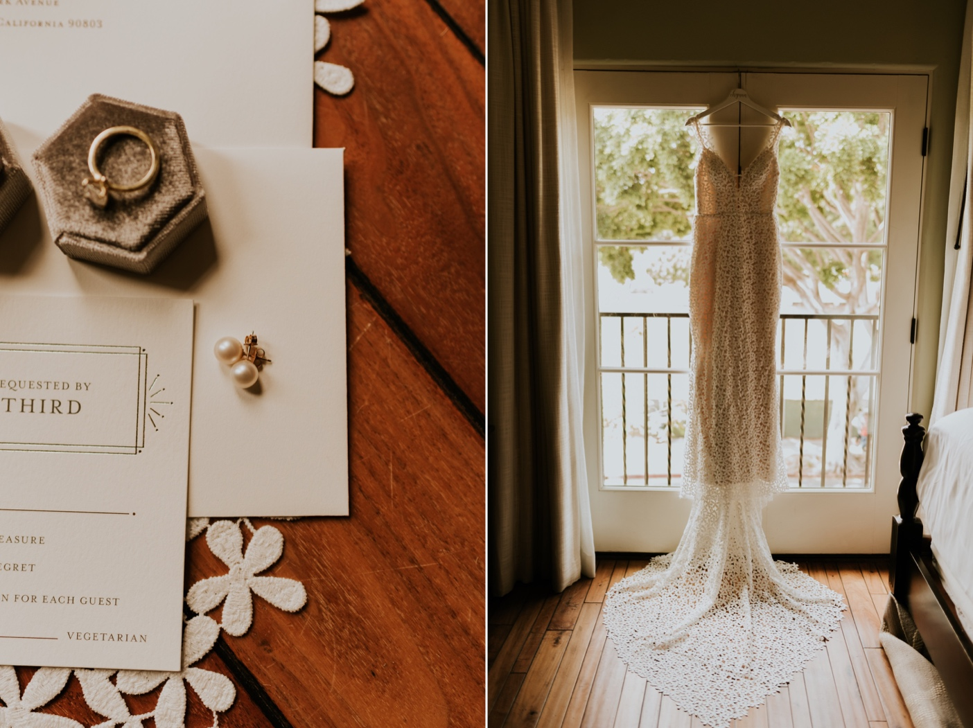 Wedding detail flatlay. Wedding dress hanging in window. Santa Barbara Wedding Photography