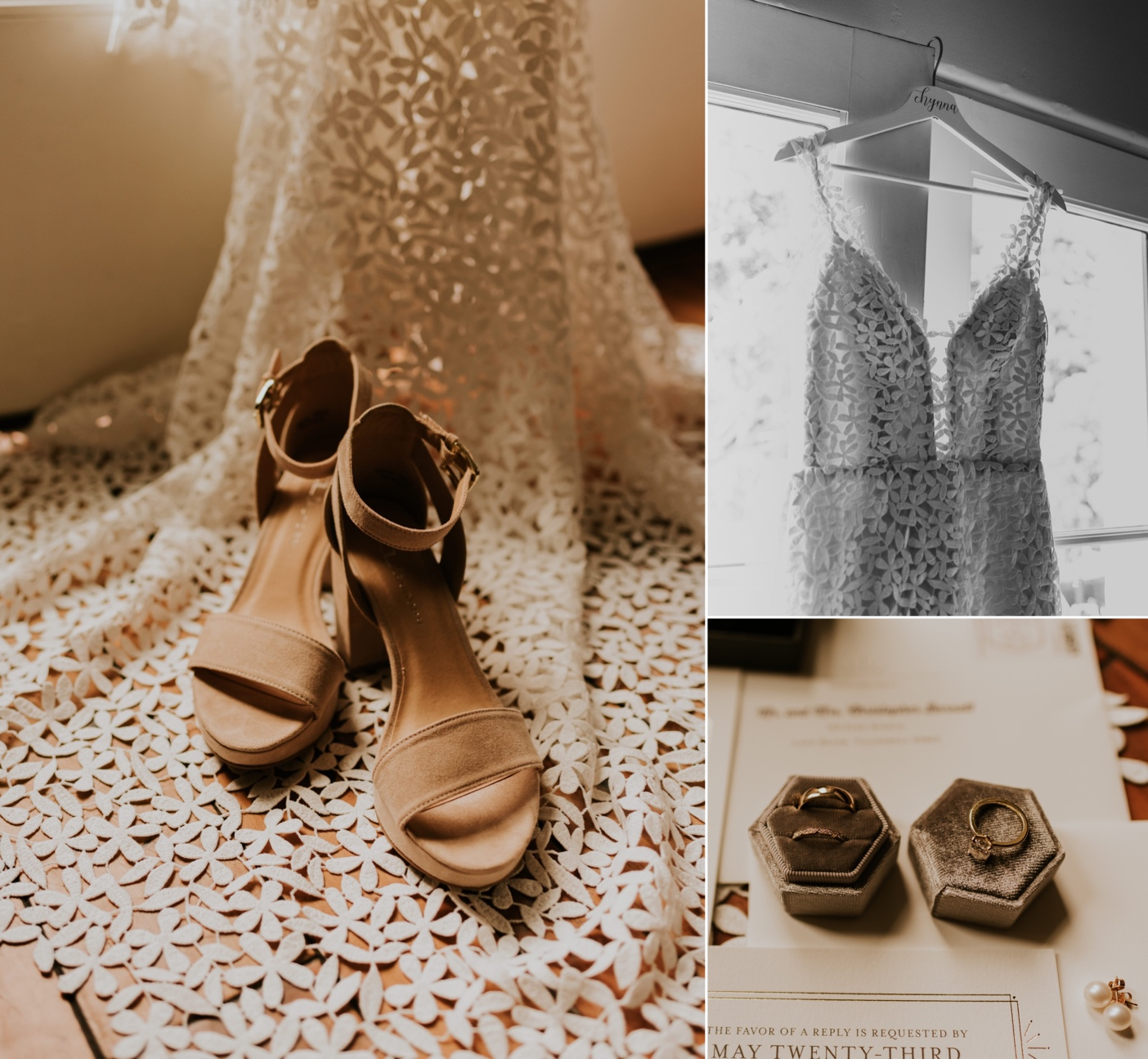 Wedding details. Bride's shoes, invitation suite, and jewelry. Dress hanging in window. Santa Barbara Wedding Photography