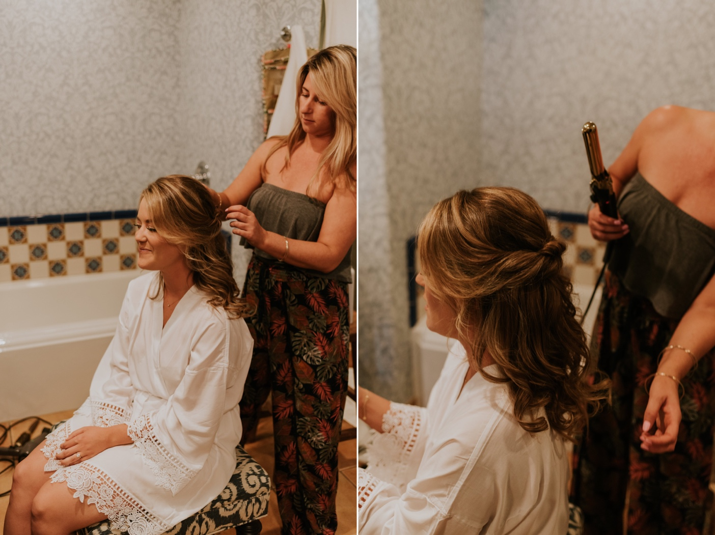 Bride getting ready at The Canary Hotel Santa Barbara. Bridal Hair. Santa Barbara Wedding Photographer.