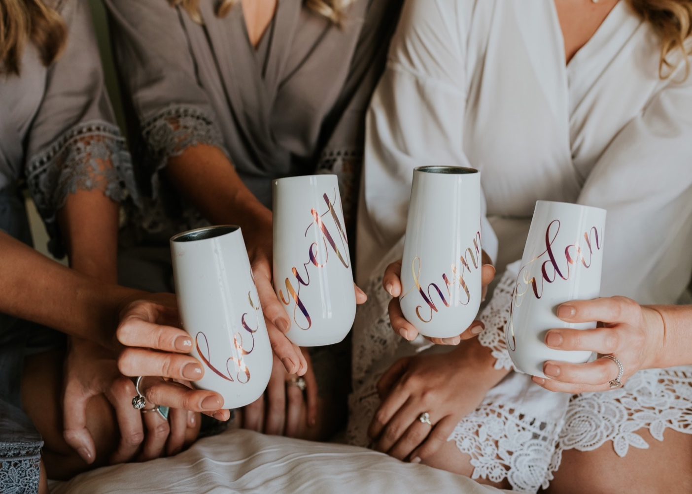 Personalized wine tumblers for bride and bridesmaids.