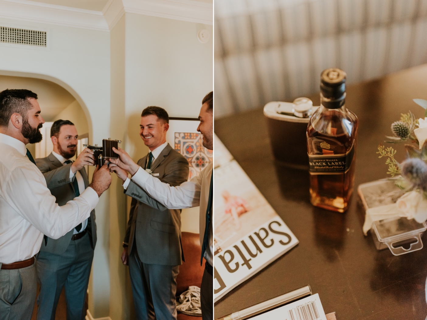 Groomsmen toasting before wedding. Groom getting ready photos. Canary Hotel Santa Barbara.