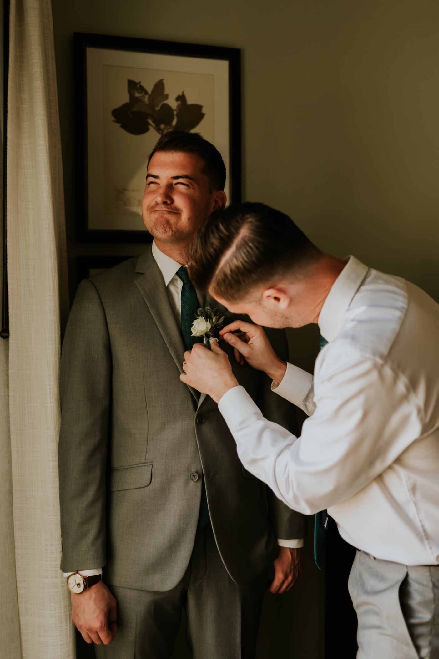 Groom getting ready photos. Canary Hotel Santa Barbara.