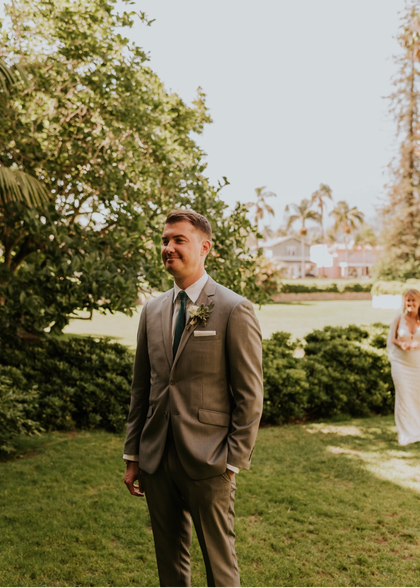 Bride and Groom first look on outdoor lawn. Santa Barbara Courthouse Wedding.