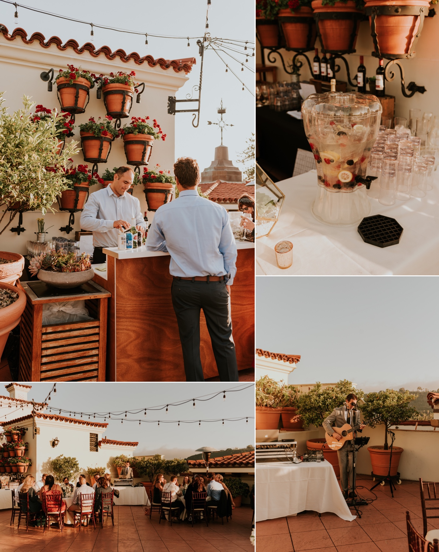 Sunset Rooftop wedding reception Canary Hotel Santa Barbara.