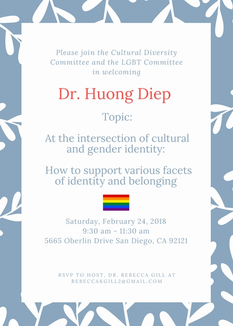 Let's talk gender AND culture - Come and hear Dr. Diep speak!