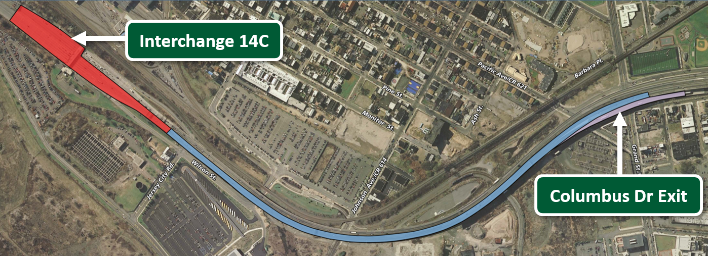 Primary work occurring from Interchange 14C to Columbus Drive Exit: Deck Reconstruction