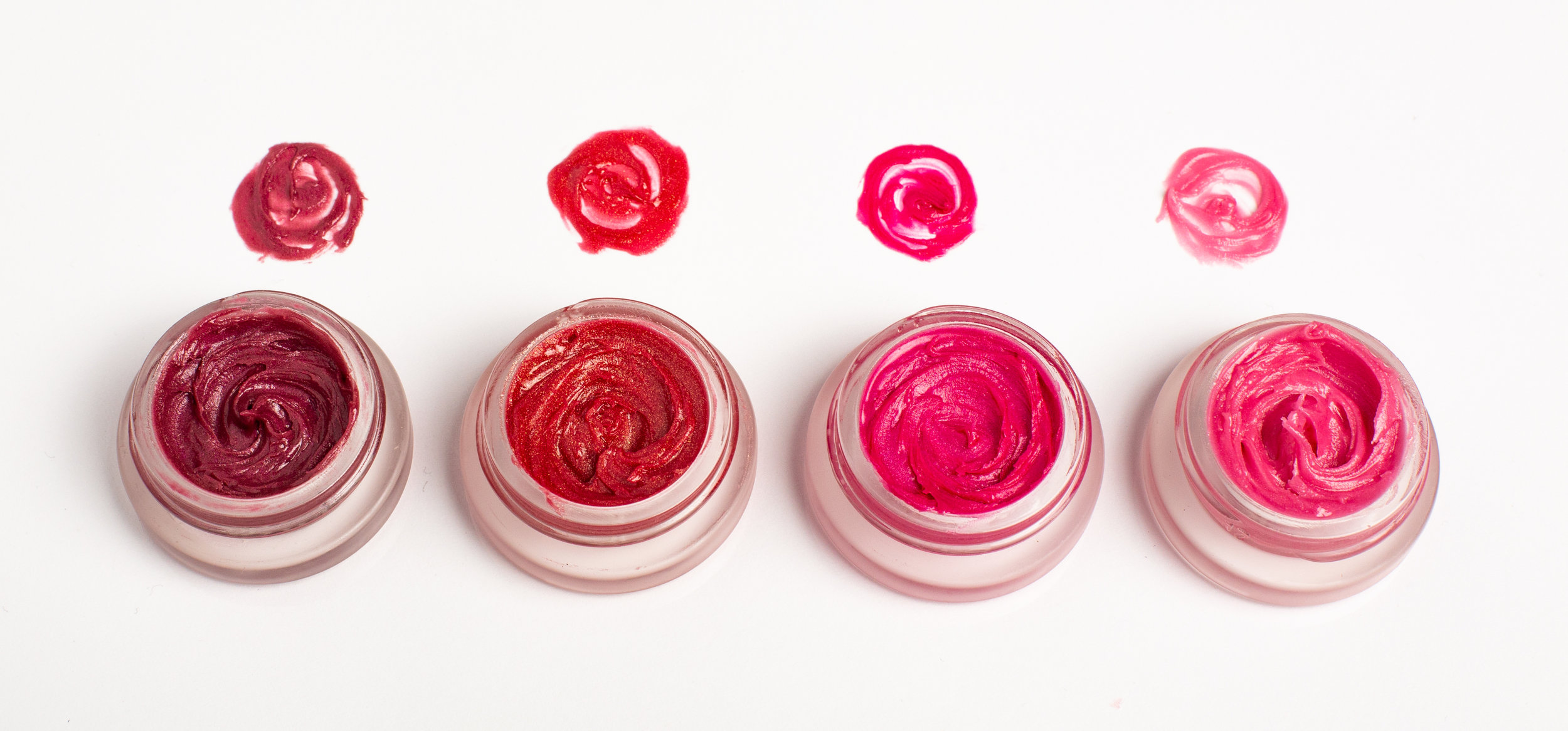 Kari Gran Lip Whip (colors L to R: Jeannie, Cora Gold, Jolene, and Radiant); $24 each