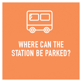 We'd prefer to park the station on a flat surface, although a small gradient is okay.  Dimensions: The full length of our trailer is 6.8m (inclusive of the towbar)  Our trailers height is = 3metres and 40mm The width of our trailer is = 2.4m