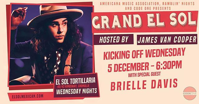 """So the cats out of the bag ! Im so excited to finally have my own weekly show """"Grand El Sol"""" at @elsolcronulla ! I will be having all my favourite artists come along as well as playing songs off of Coming Home, Highrise Skyline and everything in between !  Wednesday nights , free entry and the best Mexican food you'll have !  I'll see you Wednesday night with @brielle_davis !  My thanks to my team, Code One, Rambling Nights and the Americana Association of Australia.  JVC"""
