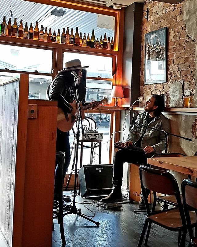 This a picture of @mitcherodgers and I singing songs @thenoblehops_redfern - Mitch is in Europe eating cheese so he can't be there today. But I'll be singing songs at 4:30!  I never write a setlist so who knows what will happen !
