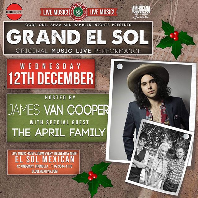 Grand El Sol is back this week with special guests @theaprilfamily !  Doors 7pm  @jamesvancooper (me) 7:45-8:15 @theaprilfamily 8:15 - 9:00 @jamesvancooper (Also me) 9:15 - 10:00  Great Mexican food, great artists, great times ! And it's free ! JVC
