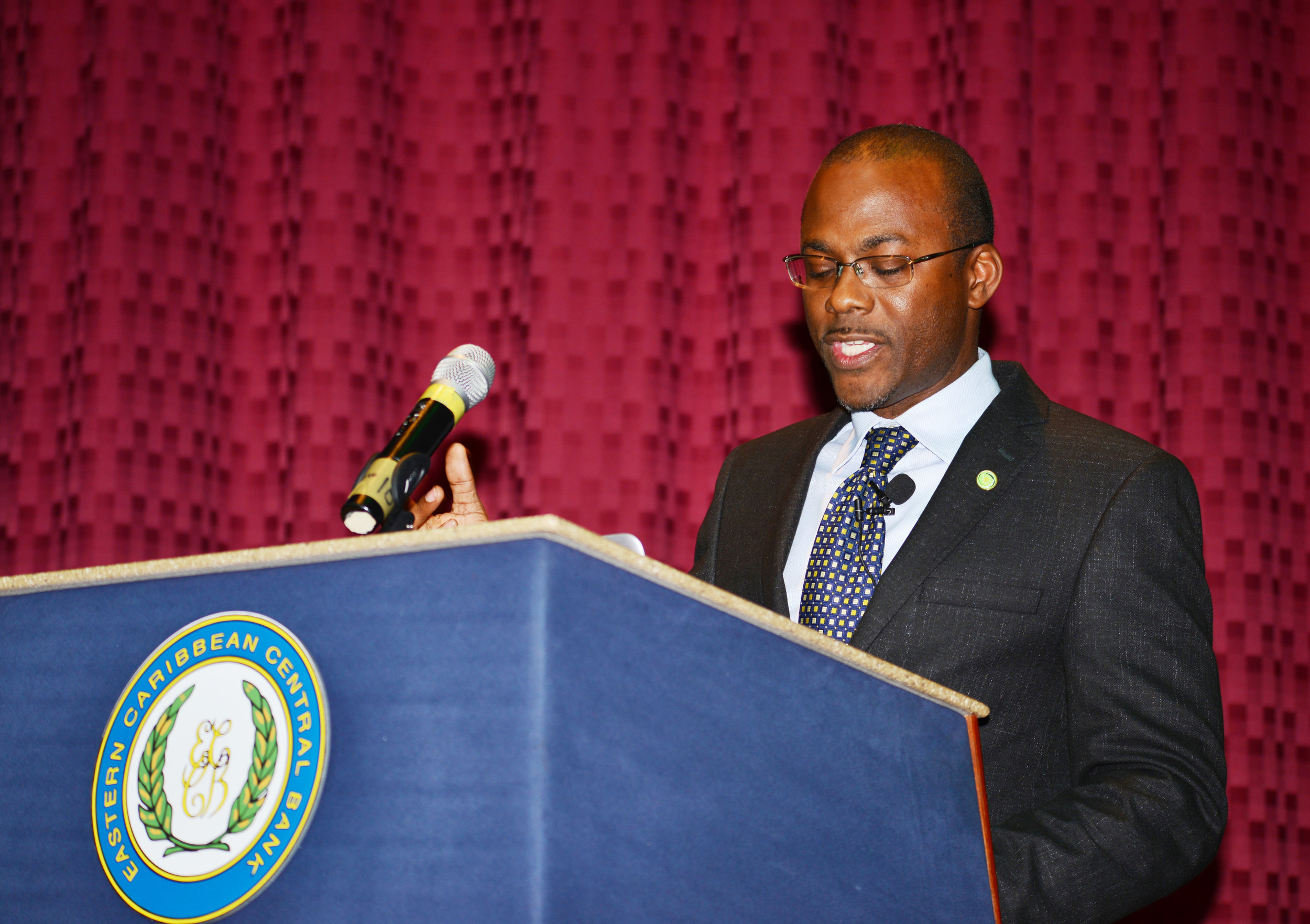 Bevil Wooding presents at the 23rd Sir Arthur Lewis Memorial Lecture, Sir Cecil Jacobs Auditorium, Eastern Caribbean Central Bank Headquarters, Basseterre, St Kitts, on November 7, 2018.