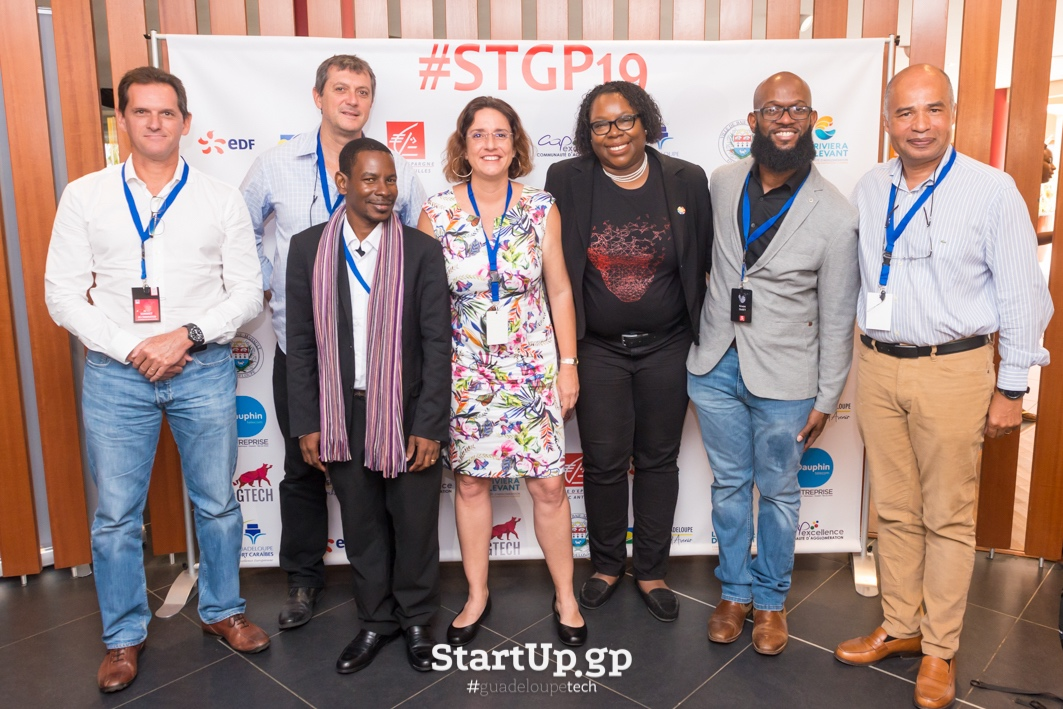From left, Frédéric Hayot, SFR; Pascal Boudin, Guadeloupe Data Centre; Xavier VERTON, GuadeloupeTech; Eve Riboud, Dauphin Telecom; Betty Fausta, GuadeloupeTech/IPEOS; Kevon Swift, LACNIC; Philippe Roquelaure, Orange Caraïbe, after the signing of the Guadeloupe IXP memorandum of understanding, at the sixth annual edition of Startup Guadeloupe, held at Karibea Hotel, Le Gosier on March 23. Photos courtesy GuadeloupeTech