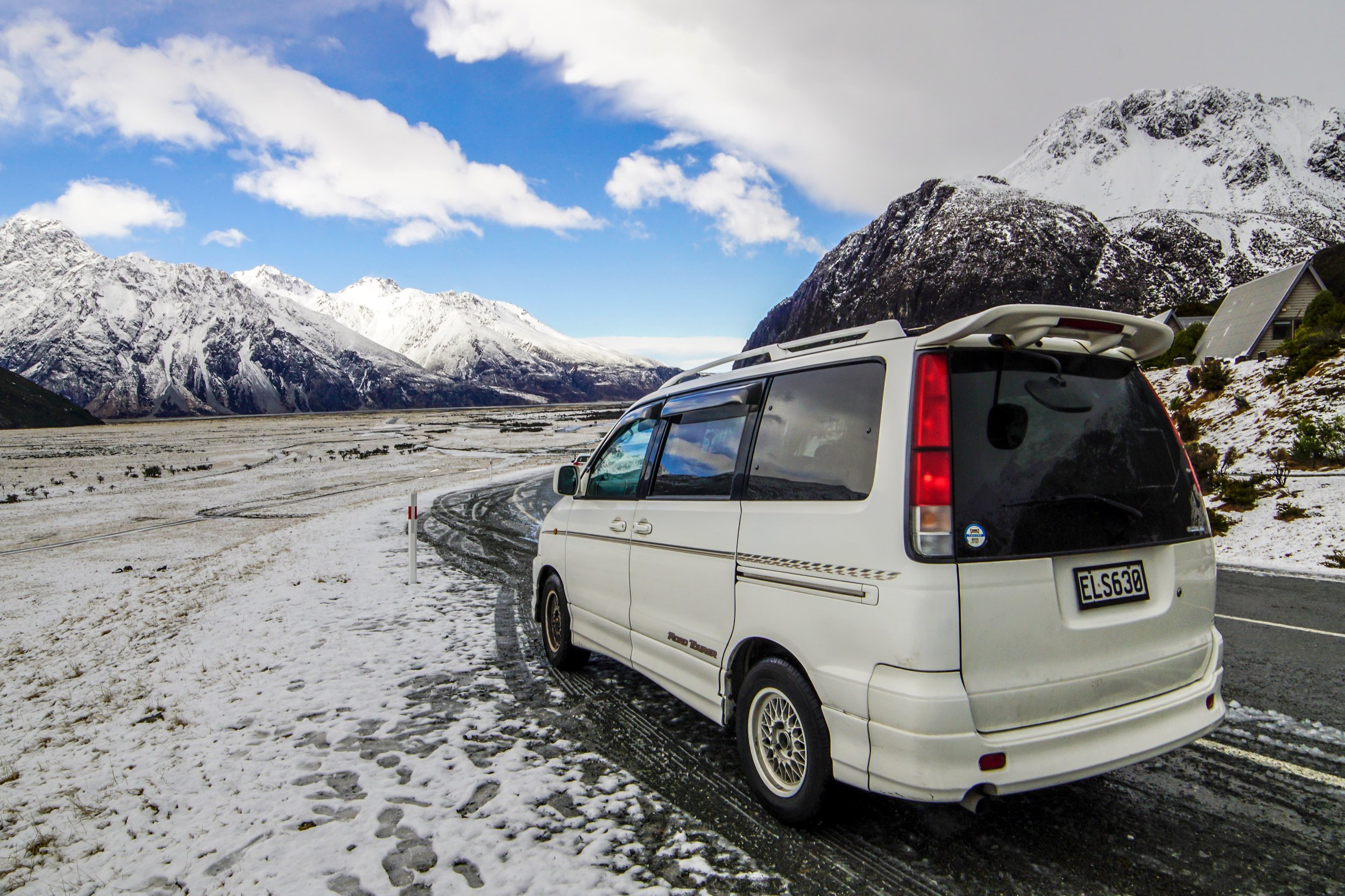 Noah on a snowy road in Mount Cook National Park
