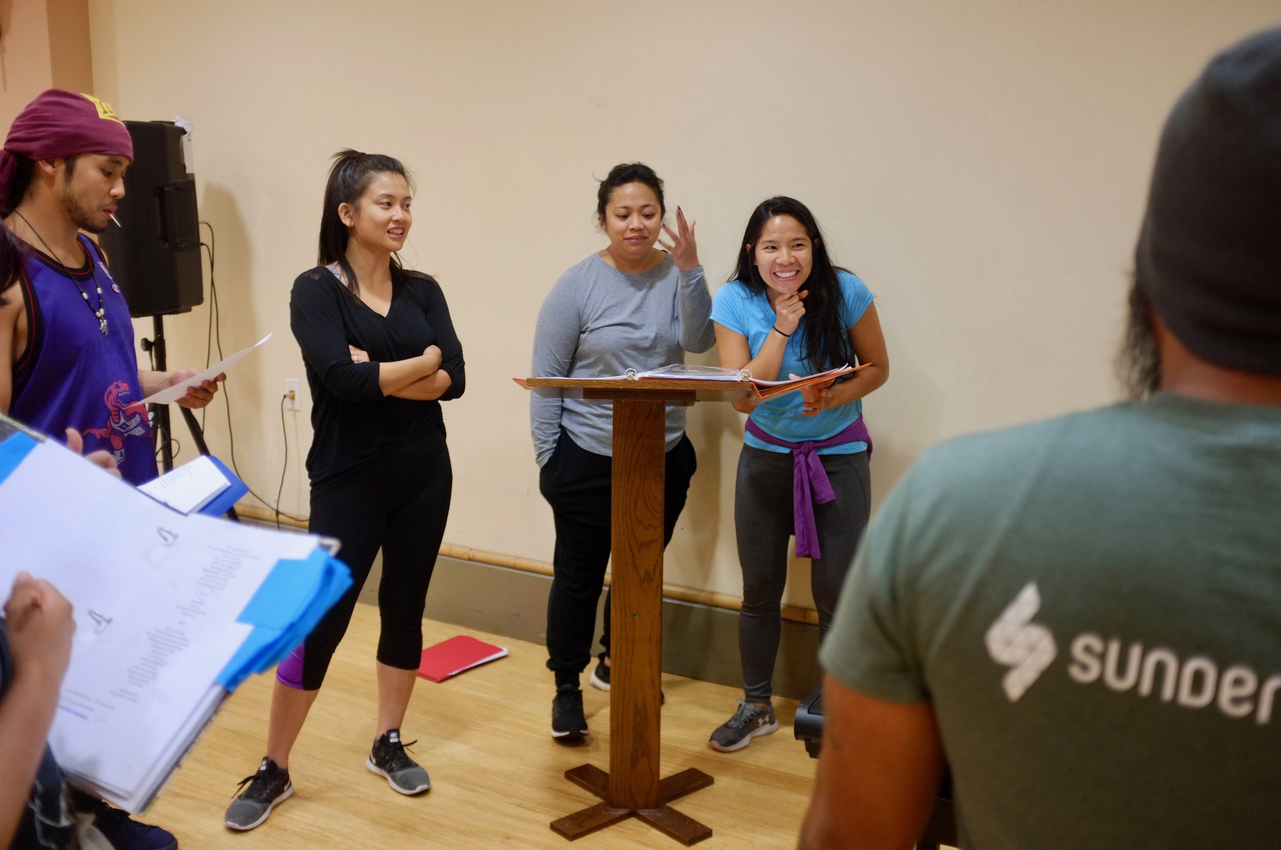 Left to Right: Johnny Nguyen, Felicial Victoria Jacobe, Lindsay Ordesta, and Andrea Almario in Chasing Papeles Rehearsal