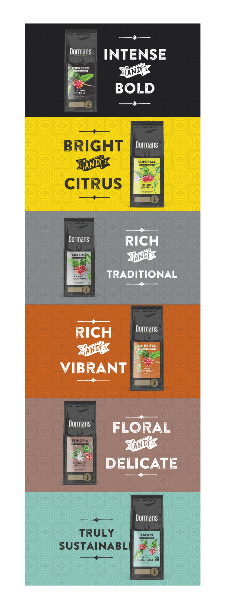 WHY DORMANS - Variety. We offer a wide variety of coffee blends to meet the different taste profiles of our customers, both local and the world over. We have different roast and grind profile to suit varied methods of making coffee.Value. Our partnerships along the coffee chain place us in a unique position to offer best value for every blend we offer.Quality & Expertise. Roasting is an art and a science - Through roasting, the chemical and physical properties of the coffee are transformed. Masterful roasting enhances the nuances, aroma and best characteristics of the coffee. Dormans has decades of experience and expertise in roasting. This coupled with our investment in state-of-the-art precision equipment gives us an edge and enables us guarantee the consistency of the quality of our products. Each blend is skillfully roasted in small batches to ensure peak quality. The coffee is packed in foil bags, and we flush in nitrogen before fixing a one way freshness valve. This valve locks in the flavour and aroma and protects the coffee from moisture and air.Unparalled Services. We love what we do and it shows in the solutions we provide. Our diverse and talented staff proactively provide advice, facilitate training, undertake audits and support the maintenance of coffee machines. We also offer merchandising support and point of sale marketing material to our wholesalers. Our approach is to customize our solutions to meet our customers business goals.Complementary Products. We supply coffee making machines and accessories such as French presses, brewers, tampers, knock-boxes among other accessories required by our hospitality customers. We also offer tea and coffee syrups.Industry Leadership & Innovation. Our master roasters and quality control team with decades of experience have a passion for quality and sustainable innovation ensuring we remain at the forefront of innovation in our industry.Safety & Sustainability. Our certifications attest to our commitment to safety and quality and demonstrate and that we exercise invest in enhanced risk management systems and give utmost care and attention to detail at all the stages of handling and processing our coffee so as to ensure that it is safe for consumption.Our association with Fairtrade is evidence of our commitment to buy quality coffee from farmers at premium prices, commensurate to their efforts. Our Coffee Kenya Mark further validates our commitment to the industry.