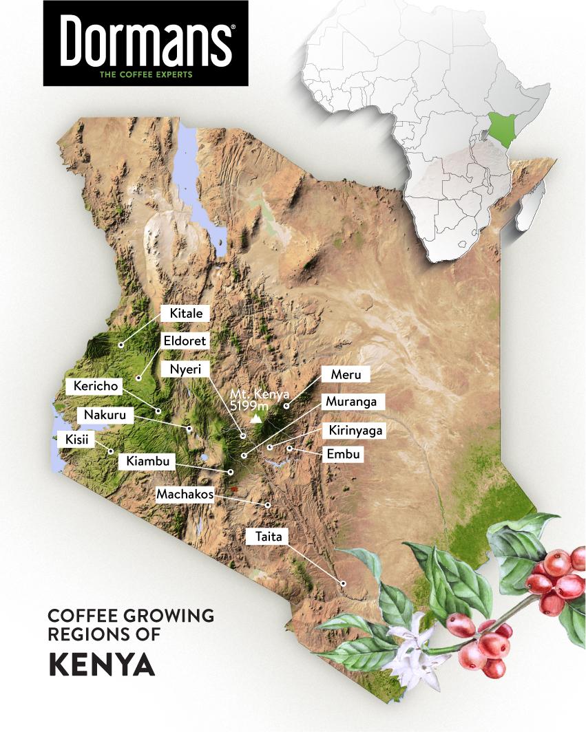 KENYA COFFEE GROWING REGIONS -