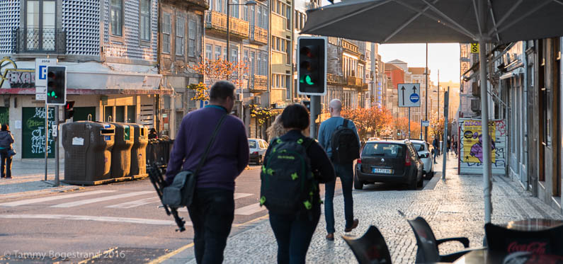 Walking down Rua de Passos