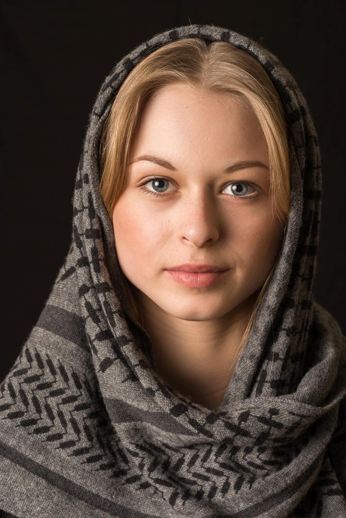 girl wearing wool scarf