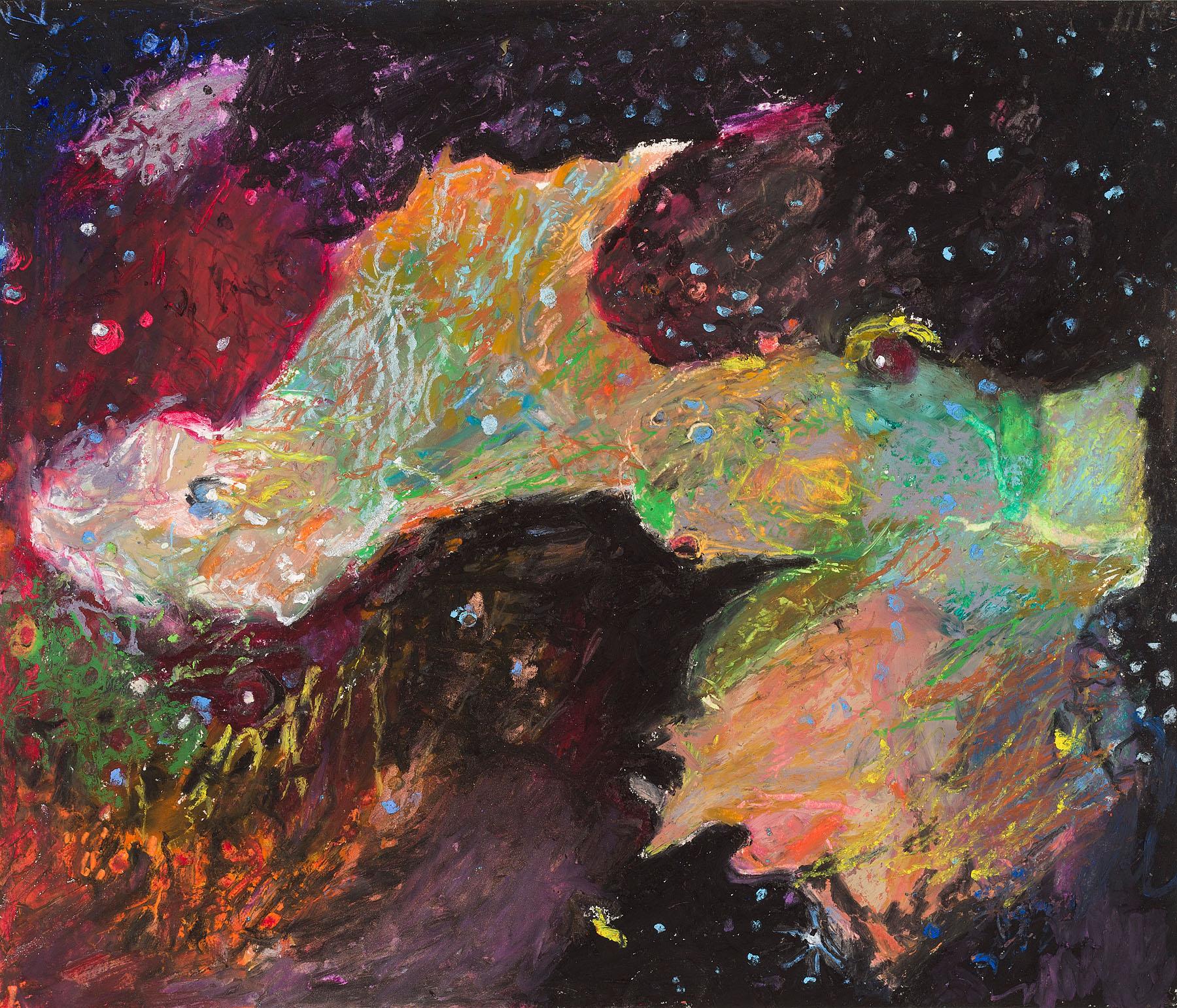 "Star Nurseries #04, oil pastel on paper, 13x16"""
