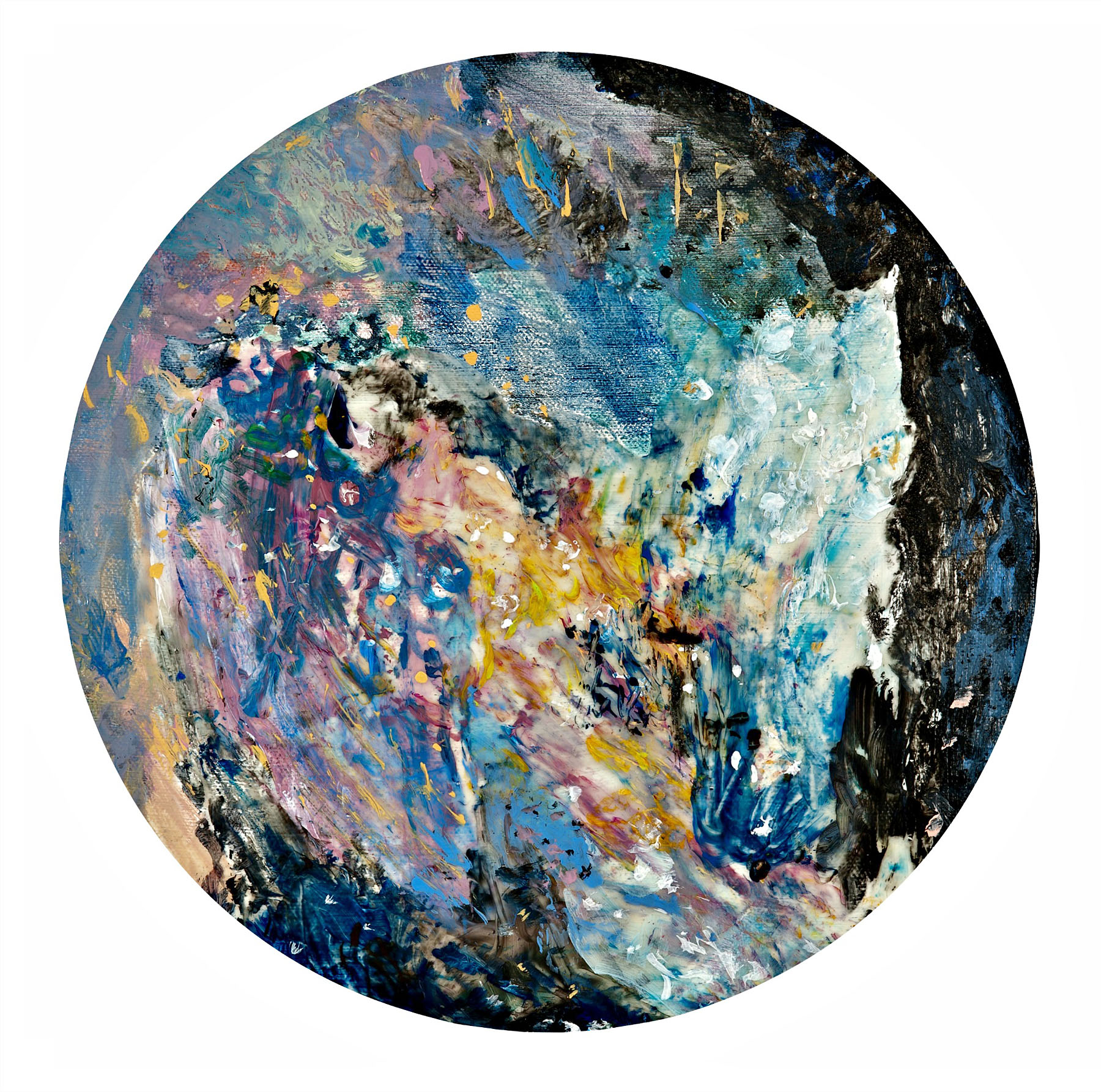 "Planet Fantasies (1 of 4), dye infused metal, 12"" diameter"
