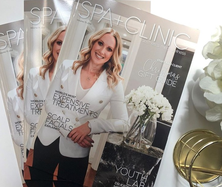 Spa + Clinic Magazine - Dr Kate was featured on the November cover of industry leading cosmetic and aesthetic magazine Spa + Clinic.