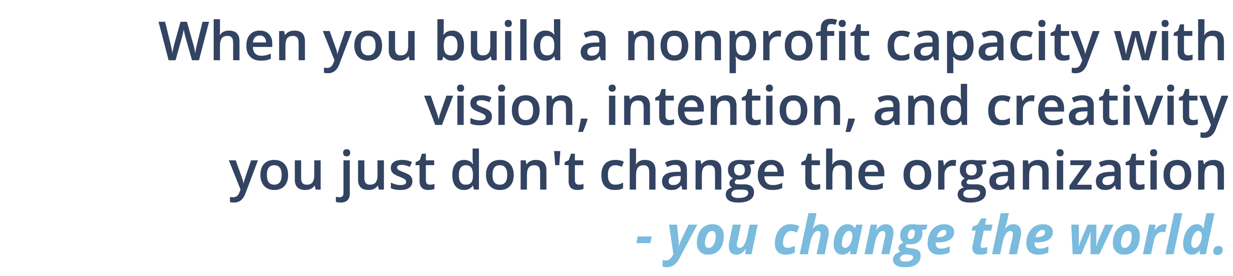 When you build a nonprofit capacity with vision, intention, and creativity, you just don't change the organization - you change the world.