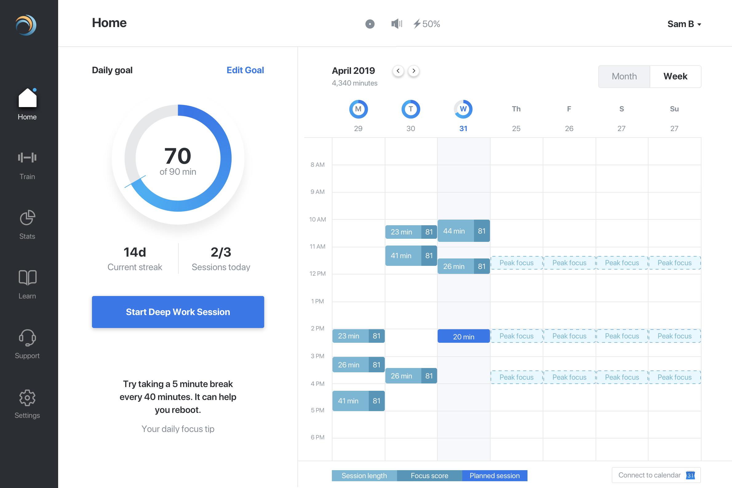 Deep work dashboard – weekly view