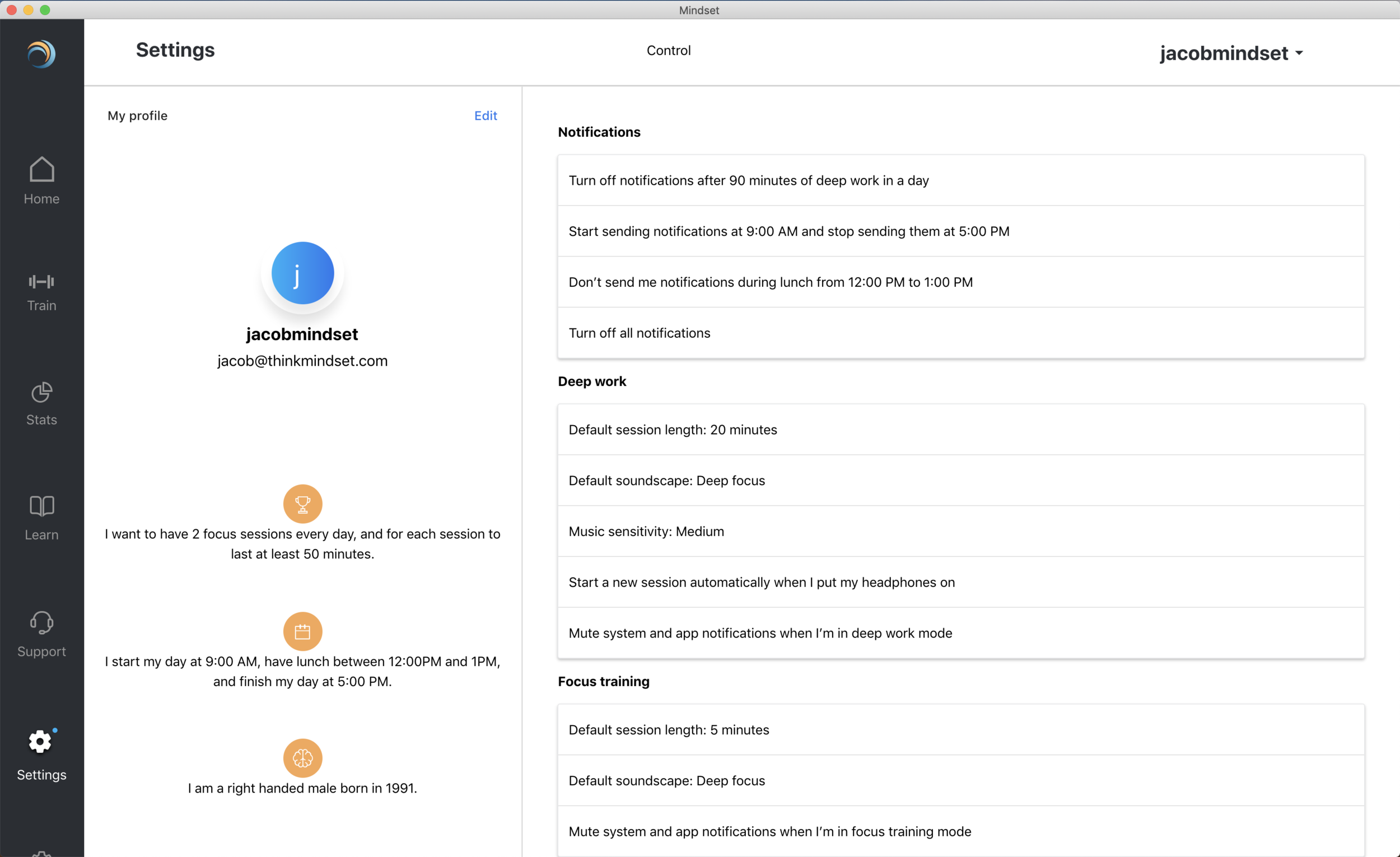 Our latest settings page, integrated into the app's back end and cloud!
