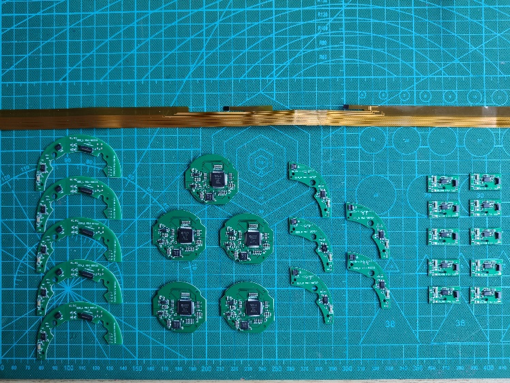 Electronics boards for the next headphone batch, laid out (5 units)