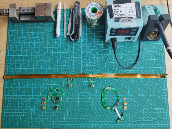 The electronics stack for a single Mindset Headphone, laid out as it will be assembled into the headphone!