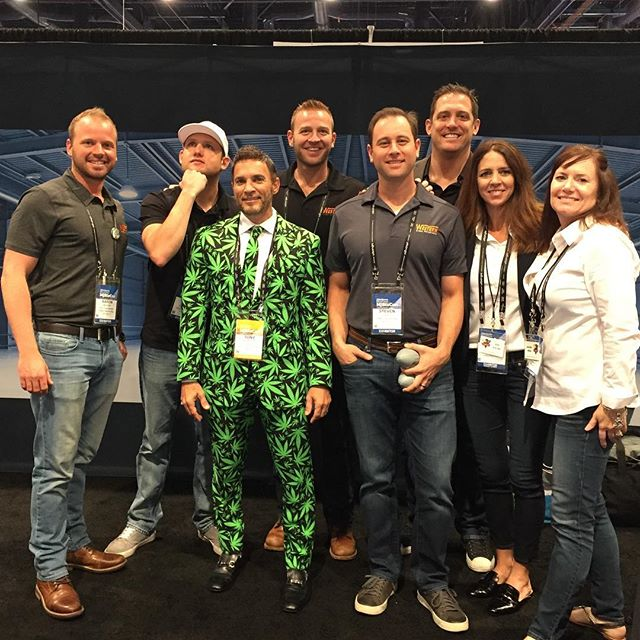 My partner Tony hanging with the crew of Slater Builders Inc. At the #mjbizcon show in #vegas! #walkingmarijuanaplant #networking #growing #business #slaterbuildersinc