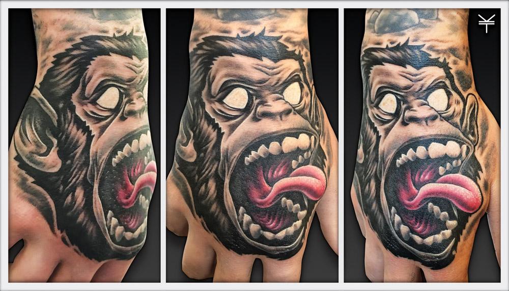 Mad screaming monkey hand tattoo!