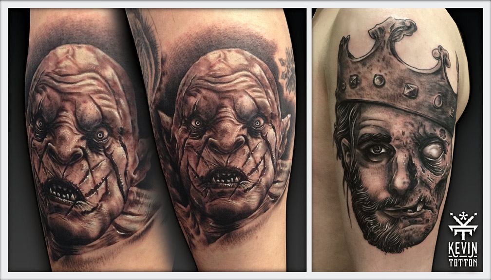 Azog the pale orc from the hobbit on back of calf and zombie king on upper arm tattoos